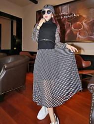Women's Polka Dot Black / Gray Set , Halter Long Sleeve