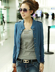 YUYI Women's Solid Color Blue / Green Coats & Jackets , Casual Stand Long Sleeve
