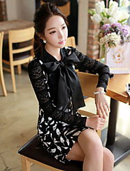 Women's Stand Bow/Lace Tops & Blouses , Polyester Casual/Lace/Work Long Sleeve DABUWAWA