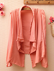 Women's Solid Pink Open-Front Padded Chiffon Jacket , Casual / Work Cowl Long Sleeve