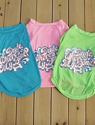 Cat / Dog Shirt / T-Shirt Green / Blue / Pink Summer Letter & Number Wedding / Cosplay