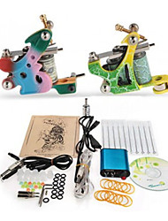 Tattoo Maschine komplette Kit Set 2 Pistolen Maschinen 10pcs Tattoofarbe Tattoo-Kits