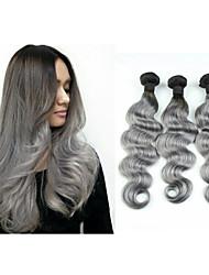 "3pcs/lot 10""-34""Brazilian Virgin Hair Omber Grey Hair Weaves Grey Hair Extensions Brazilian Body Wave"