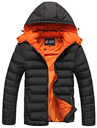 Men's Regular Parka Coat , Cotton Pure Long Sleeve The new cotton-padded jacket to keep warm coat