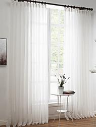 Dois Painéis Tratamento janela Rococó Europeu Designer Rústico Moderno Neoclassicismo Mediterrêneo , Sólido Sala de EstarMistura de Linho