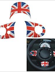 3 pièces rouge bleu style union jack enjoliveur motif de drapeau de direction pour les mini-série de r