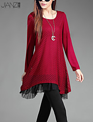 Women's Solid / Patchwork Red / Black Dress , Sexy / Casual / Print / Lace / Party / Work Round Neck Long Sleeve JZ9C20