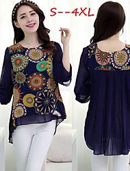 Women's Print Blue Plus Size Tops & Blouses , Casual/Print/Cute Round ¾ Sleeve