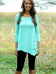 SEXY Women's Color Block Blue / Pink / White T-Shirts , Vintage / Sexy / Casual Round Long Sleeve