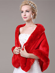 Mouwloos - Shawls ( Faux Fur , Rood