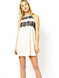 Women's Solid White Dress , Sexy Halter Sleeveless