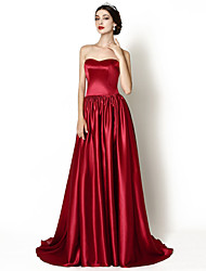 Formal Evening Dress A-line Sweetheart Court Train Stretch Satin with