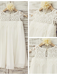 Sheath Knee-length Flower Girl Dress - Chiffon / Lace Short Sleeve