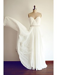 A-line Wedding Dress Floor-length Sweetheart Chiffon with Sash / Ribbon