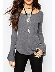 Women's Solid Gray Blouse , Round Neck Long Sleeve