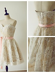 Cocktail Party Dress A-line Sweetheart Knee-length Lace / Satin