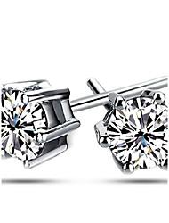 Damen / Herren / Unisex Ohrring Silber / Kubikzirkonia Kubikzirkonia Stud Earrings
