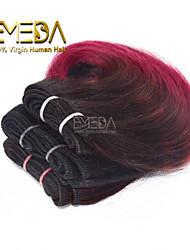 neue 3pcs / set ombre menschlichen reinen kurze Haare weben nassen wellig ombre 2 Klangfarbe # 1b / burg 8inch 6 Farben availabe