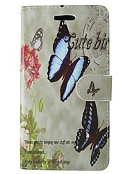 Butterfly flower pattern PU Leather Full Body Wallet Protective Case with Stand for Huawei Ascend P6