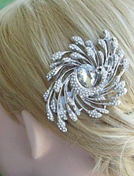 Bridal Hair Jewelry Wedding Hair Comb Silver-tone Rhinestone Crystal Peacock Hair Comb Bridal Hair Comb Bridal Jewelry