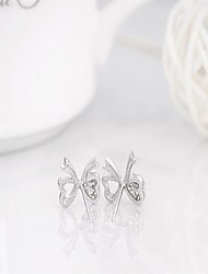 925 sterling silver 3a cz stud earrings Cute/Party/Work/Casual Sterling Silver Stud butterfly Earrings korean tv drama