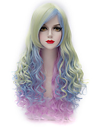Beautiful Highlight Light Green Mix Purple Long Curly U Part Hair Harajuku Lolita Purecas Synthetic Women Wig