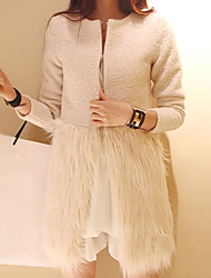 Women's Solid White Coat , Casual Long Sleeve Tweed/Faux Fur