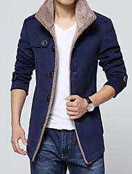 Men's Long Sleeve Casual Jacket,Cotton Blend Solid Black / Blue / Yellow