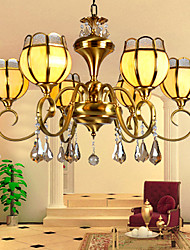 MC116-6H Fashionable Norble Crystal Beads Bronze chandelier