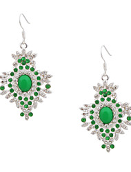 Women's Green Crystals Fashion Jewelry Silver Color Plated Crystal Rhinestone Earrings  Dangle Earrings