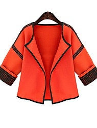 CEN     Women's Patchwork Orange Coats & Jackets , Casual / Party / Work Asymmetrical ¾ Sleeve