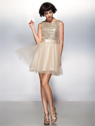 TS Couture® Cocktail Party Dress A-line Scoop Short / Mini Tulle / Sequined with Sequins