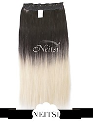"""Neitsi® 110g 22""""Full Head 5clips Kanekalon Synthetic Hair Pieces Clip In/on Straight Extensions T-60#"""