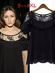 Women's Lace White/Black Plus Size Tops & Blouses , Sexy/Lace Round Short Sleeve