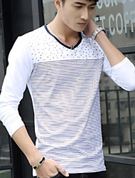 Men's Sleeve Length Tops Type , Cotton Blend Casual Print / Striped