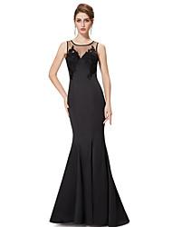 Formal Evening Dress - Black Trumpet/Mermaid Jewel Floor-length Satin / Stretch Satin