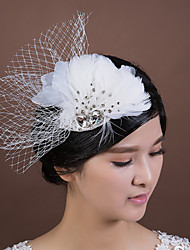 Women's Flower Girl's Feather Rhinestone Chiffon Fabric Net Headpiece-Wedding Special Occasion Fascinators 1 Piece