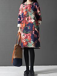 Mulheres Vestido Altura dos Joelhos Manga Longa Decote Redondo Vazado / Flor Mulheres