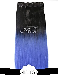 """Neitsi® 110g 22""""Full Head 5clips Kanekalon Synthetic Hair Pieces Clip In/on Straight Extensions T-Blue#"""