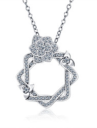 925 Sterling Silver Jewelry Necklace Pendants Jewelry Female Clavicle Chain with Diamonds
