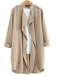 Women's Solid  Coat (Cotton)