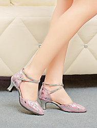 Women's Dance Shoes Latin Leather Chunky Heel Pink/Gold
