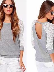 Amy Women's Patchwork Gray Tops & Blouses , Casual Round Long Sleeve