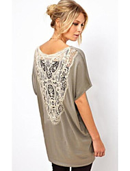 DUIQI Women's Patchwork / Lace White / Black / Gray Tops & Blouses , Vintage / Work Round Short Sleeve