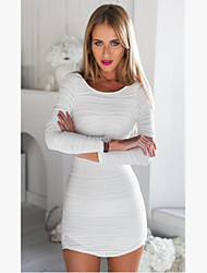Women's Solid Sexy/Bodycon/Party Cutwork Long Sleeve Backless White Dress
