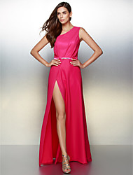 Formal Evening Dress - Fuchsia A-line One Shoulder Floor-length Chiffon