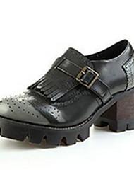 Women's Shoes  Chunky Heel Round Toe Heels Casual Gray / Burgundy