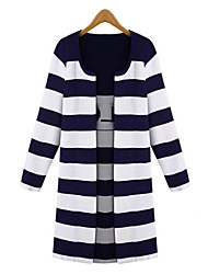 Women's Striped Blue / Black Cardigan , Casual Long Sleeve