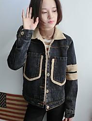 Women's Solid Blue / Black Cotton / Denim / Fleece Top , Casual