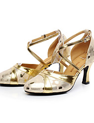 Non Customizable Women's Dance Shoes Latin Leather Flared Heel Black / Silver / Gold